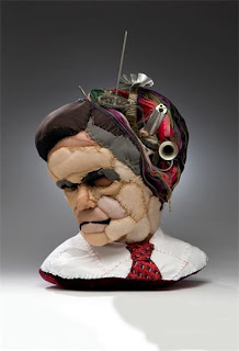Mitt Romney, Fabric, Wire, Found Objects, Zippers 30 x 30 inches by Melissa Ichiuji