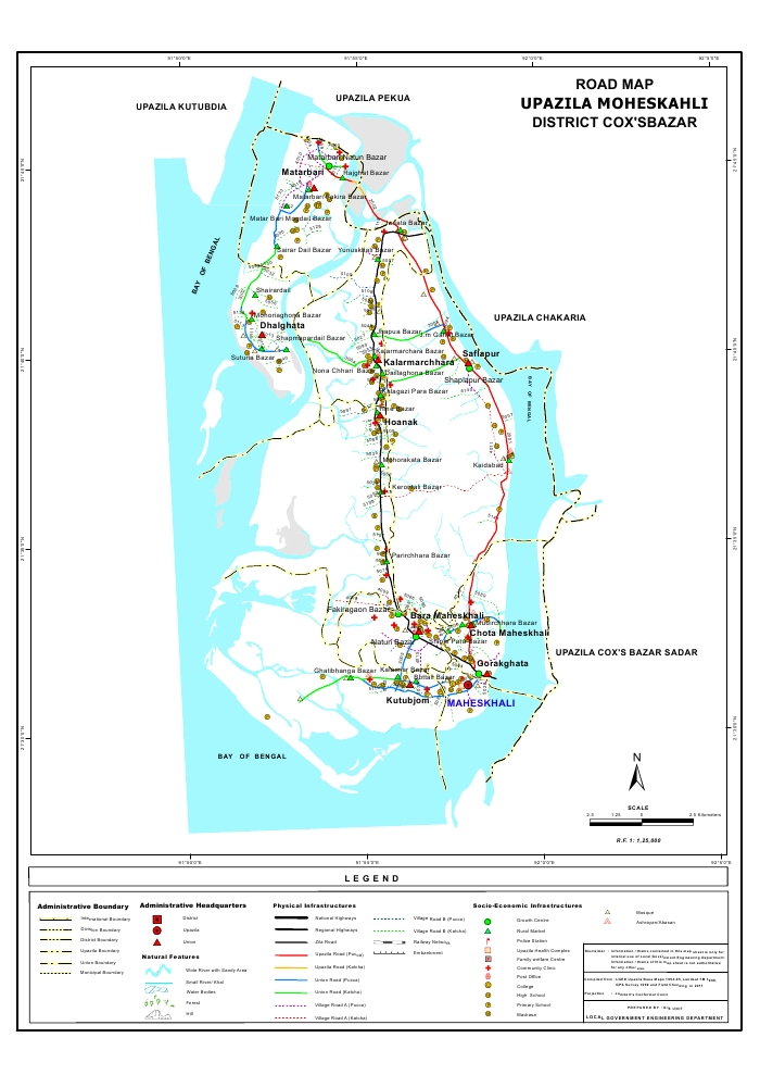 Maheshkhali Upazila Road Map Cox's Bazar District Bangladesh