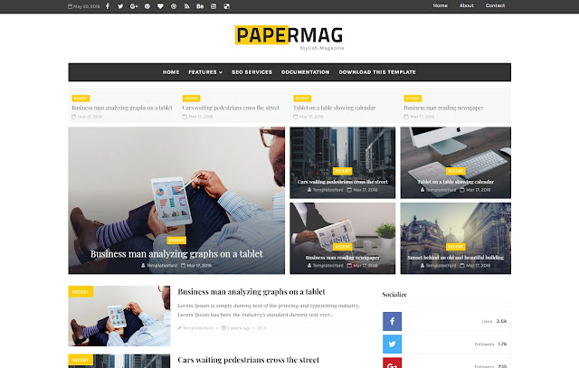 Papermag Responsive News Professional Magazine Blogger Template Theme