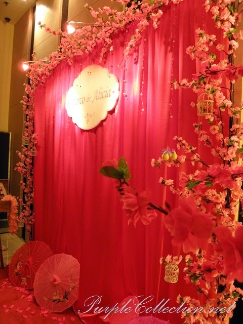photo booth, sakura, cherry blossom, red, pink, gold, theme, wedding decoration, holiday inn kuala lumpur, glenmarie, subang, shah alam, decorator, online, website, package, affordable