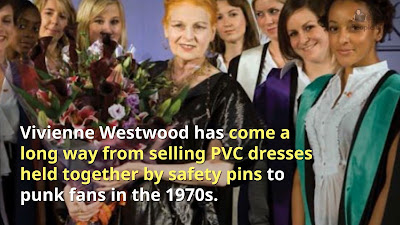 How Vivienne Westwood rose from punk to dame - Image shows Vivienne at a university presentation.