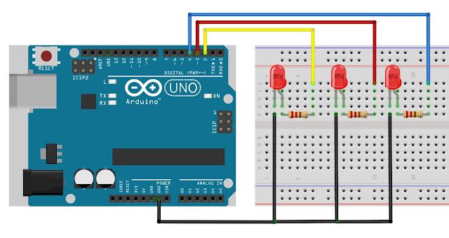 Rangkaian pengendali led dengan arduino