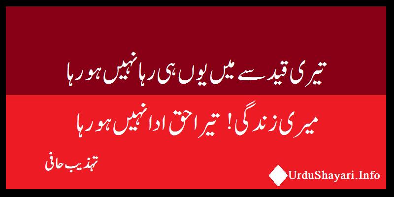 Meri Zindagi Tera Haq Beautiful Shayari by Tehzeeb Hafi - two lines on Zindagi