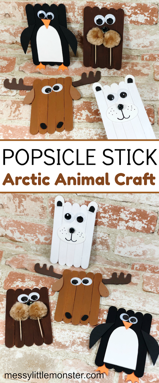 Easy popsicle stick crafts for kids. Arctic animal crafts.