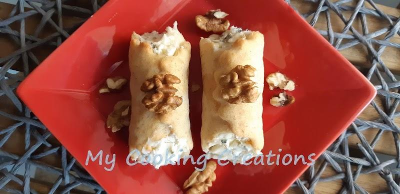 Солени каноли с плънка от горгонзола, маскарпоне и орехи