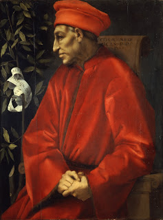 This portrait of Cosimo by Jacopo da Contormo  can be viewed in the Uffizi Gallery in Florence