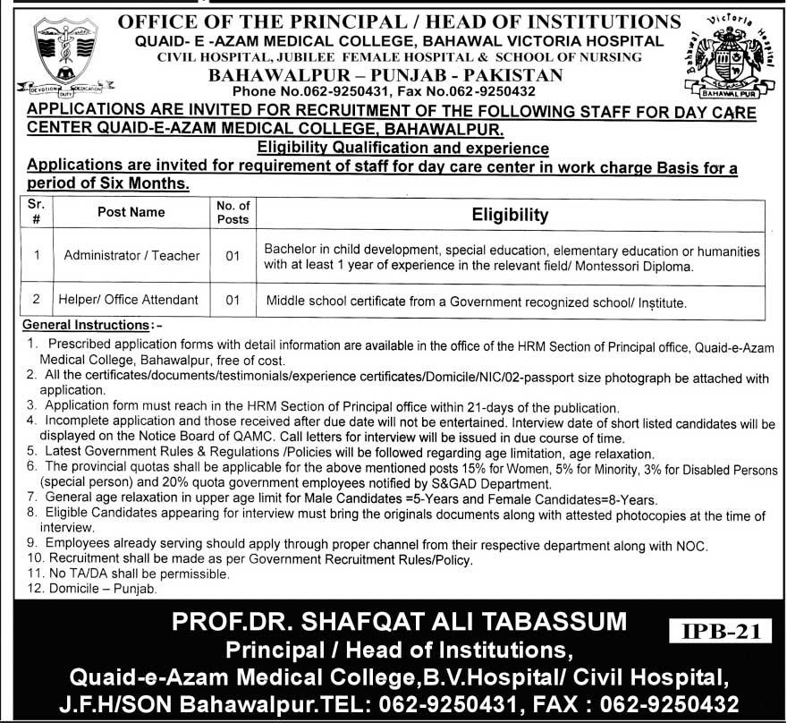 Bahawal Victoria Hospital Bahawalpur Jobs 2021 Advertisement