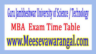 Guru Jambheshwar University of Science / Technology MBA All Semester (Re-appear Mercy Chance) 2016 Exam Time Table