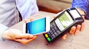 a man is making cashless payment