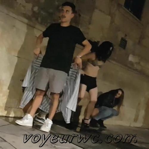 Girls Gotta Go 71 (Spanish drunk girls pee in a public place)