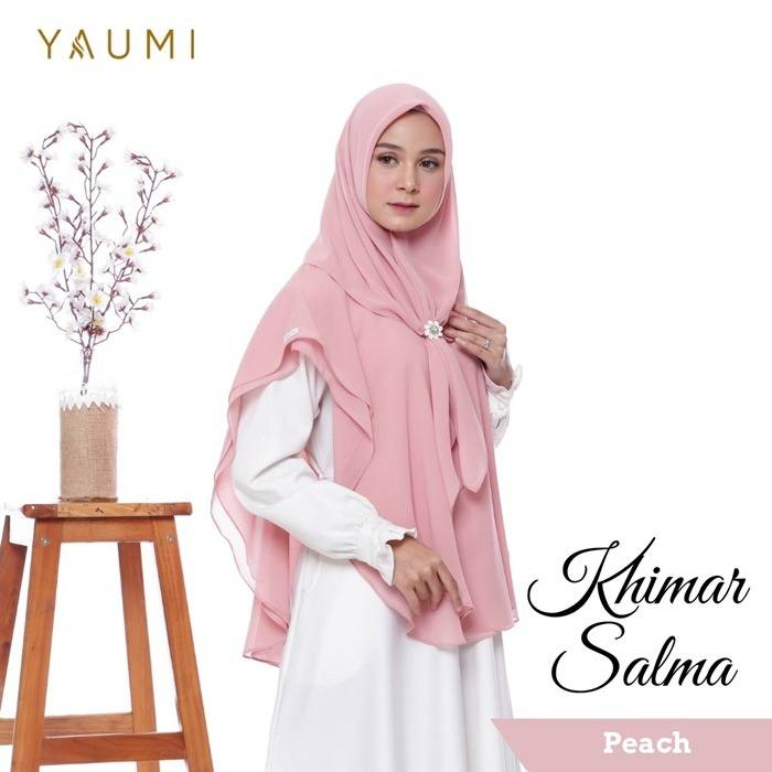 Yaumi Hijab Khimar Salma Peach