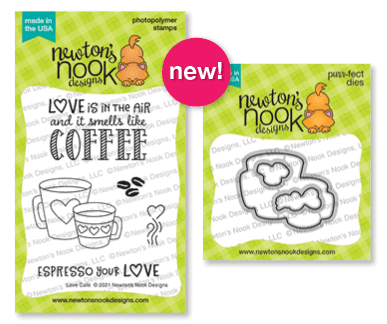 Love Café Stamp Set and Coordinating Die Sets by Newton's Nook Designs #newtonsnook