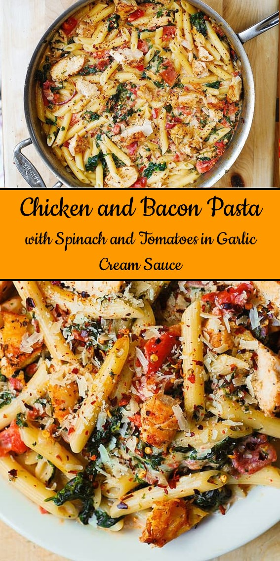 Chicken and Bacon Pasta with Spinach and Tomatoes in Garlic Cream Sauce #Italian #Chicken #Bacon #Pasta #Spinach #Vegetable #Penne #Cheese #Alfredo #Dinner