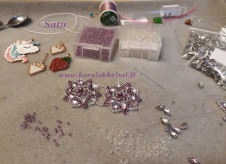 GemDuo, tsekkiläiset lasihelmet, Toho siemenhelmet, Miyuki siemenhelmet, Miyuki Delica siemenhelmet, brick stitch tiilipisto, korujen tekeminen itse, käsintehdyt korut,