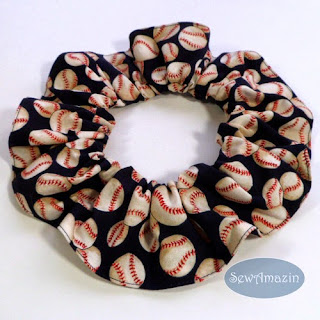 Baseball Dog Scrunchie Neck Ruffle, Navy Blue
