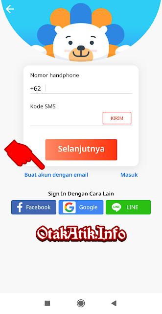 Selanjutnya, kalian bisa menggunakan nomor handphone atau email sebagai contoh disini saya menggunakan email. Klik KIRIM untuk menerima Kode Verifikasi dan klik Selanjutnya.