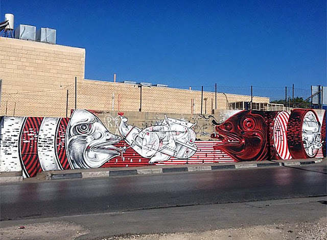 Street Art Duo How Nosm In Palestine Where They Painted Several New Pieces.