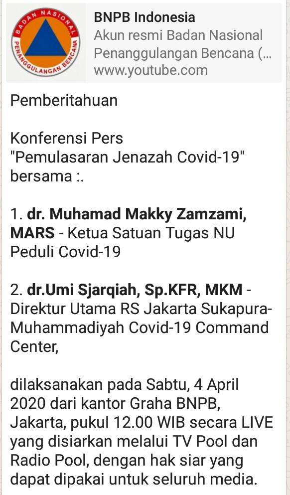 """Konferensi Pers    """"Pemulasaran Jenazah Covid-19"""""""