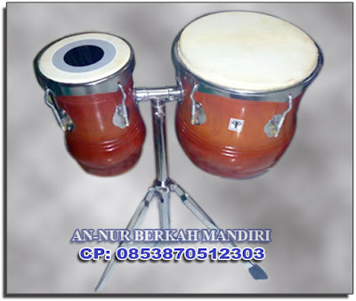 Kendang Tabla Warna Polos Natural + Stand