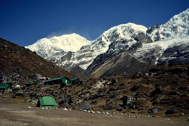Kabru South, Kabru Dome and BC Roy Peak from HMI Base Camp