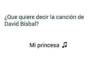 Significado de la canción Mi Princesa David Bisbal.