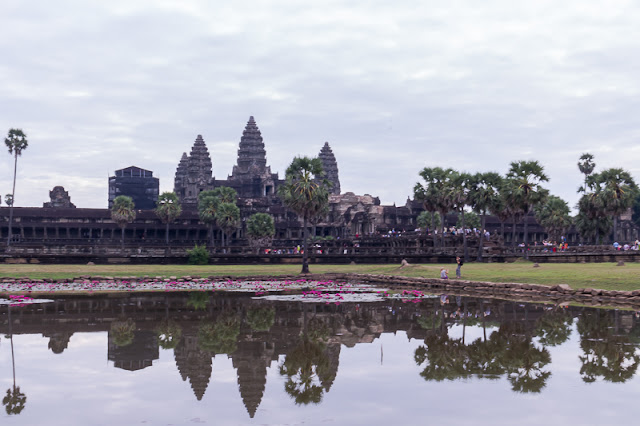 AngKor Wat Temple and reflection by the Lotus Lake in Siem Reap Cambodia
