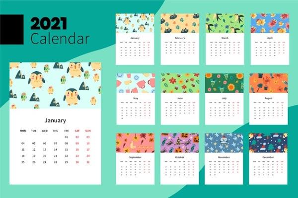 Calendario de niños para imprimir 2021