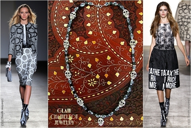 Glam Chameleon Jewelry black mother of peral and gray jasper necklace