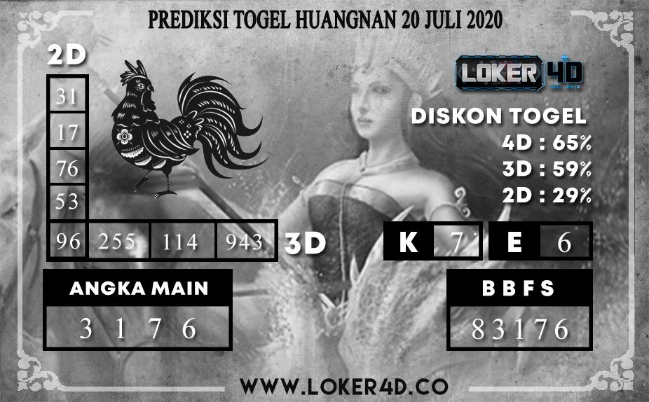 PREDIKSI TOGEL LOKER4D HUANGNAN 20 JULI 2020