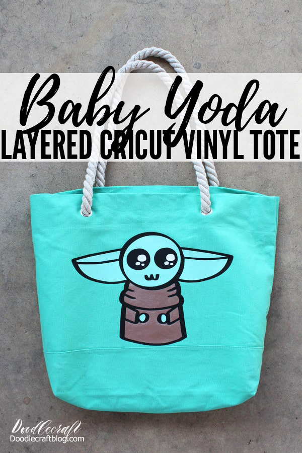 Baby Yoda The Child from Star Wars the Mandalorian Layered Cricut Iron-On Vinyl Tote Bag DIY with Baby Yoda by Doodlecraft Template Download Coloring Book page, black and white outline, svg file, free download image inspired by Disney's Star Wars Mandalorian