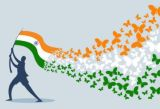 a man holding indian flag