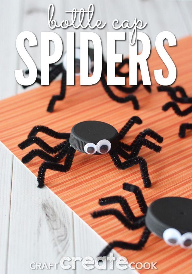 bottle cap Halloween spider craft for kids