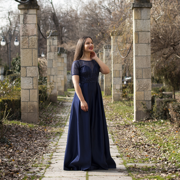 adina nanes navy blue dress