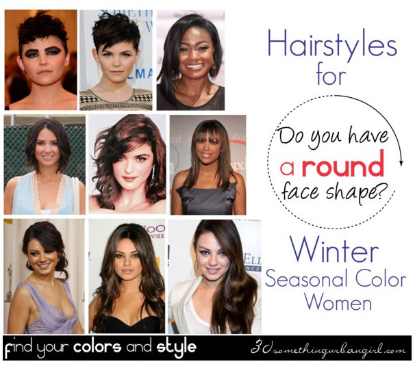 Best hairstyles for Winter seasonal color women with round face shape