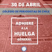 COMUNICADO: Colegio de Periodistas adhiere en todo Chile a Huelga General convocada por la CUT