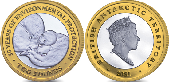 British Antarctic Territory 2 pounds 2021 - 30th Anniversary of Environmental Protocol - Ross Seals