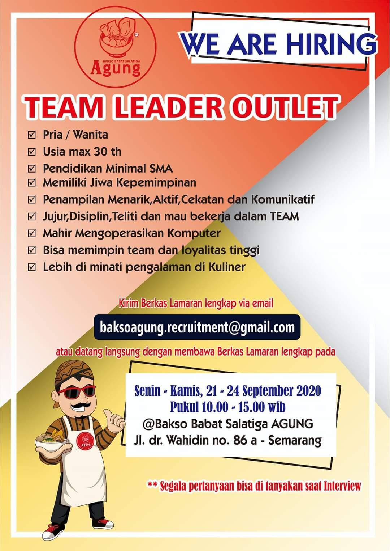 Bakso Babat Salatiga Agung Semarang Membuka Kesempatan Berkerja Untuk Posisi Team Leader Outlet