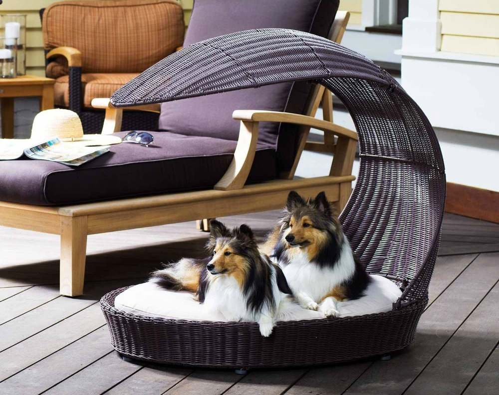 Stylish Covered Shaded Dog Bed for Outside | 13 Ways to Keep a Dog Cool this Summer (www.danslelakehouse.com)