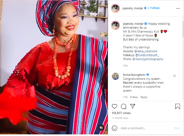 Marriage isnt a bed of roses but a bed of Understanding- Actress Jaiye Kuti says as she celebrates her wedding anniversary