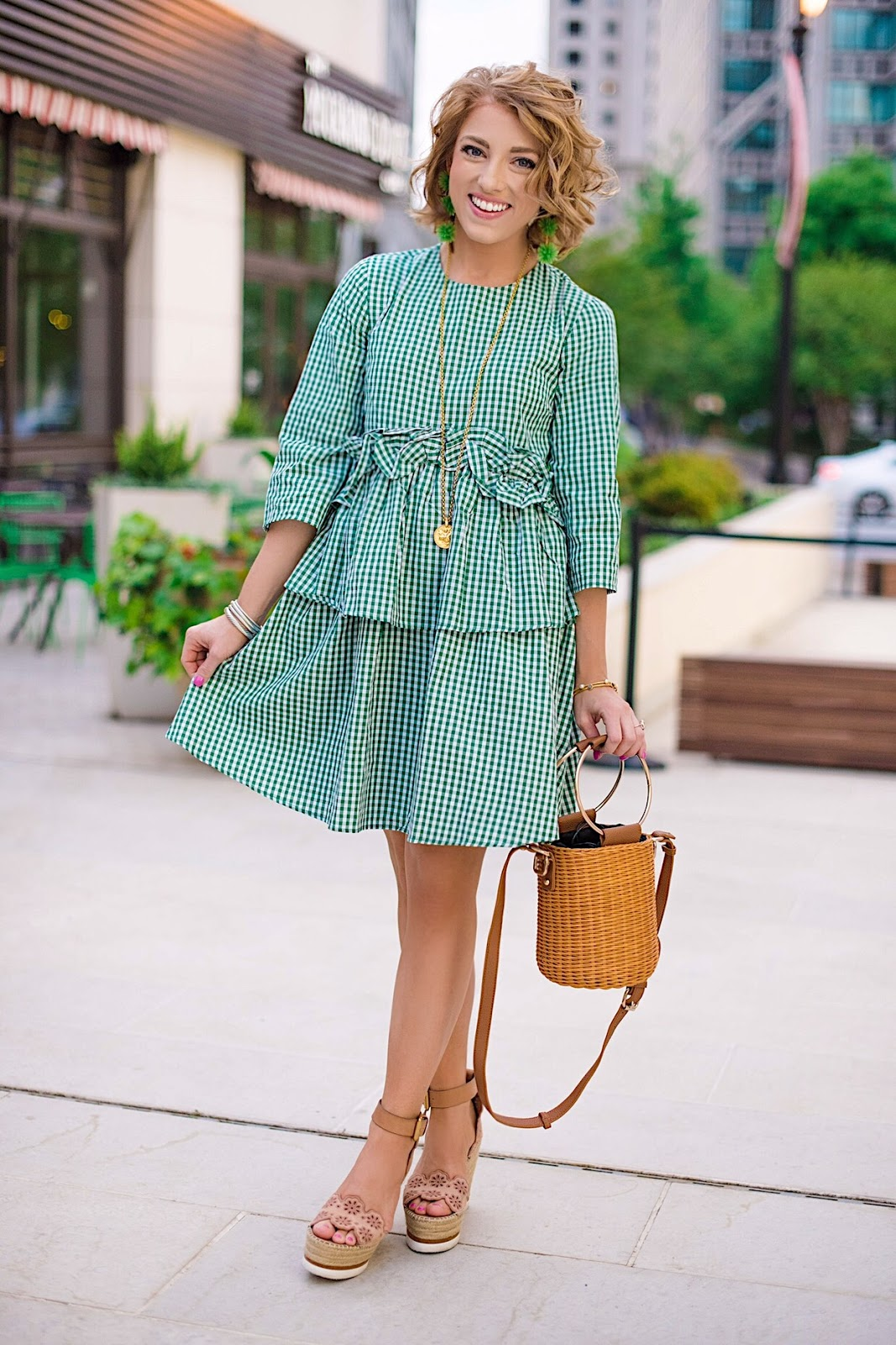 Emerald Green Ruffle Gingham Dress + Wicker Basket Bag - Something Delightful Blog