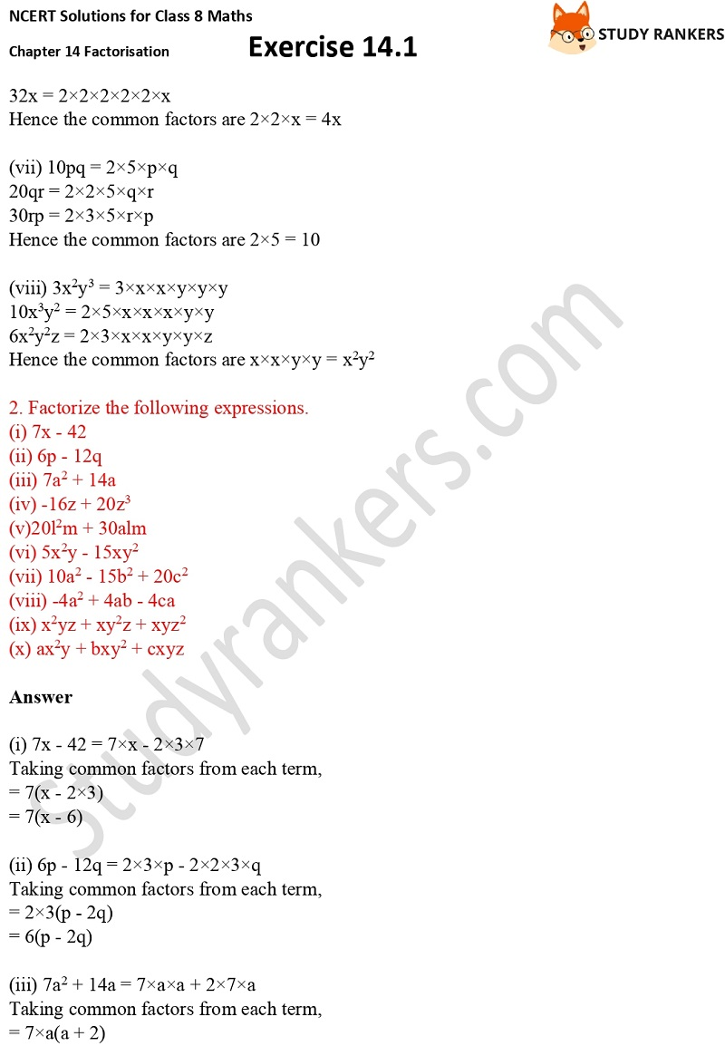 NCERT Solutions for Class 8 Maths Ch 14 Factorization Exercise 14.1 2