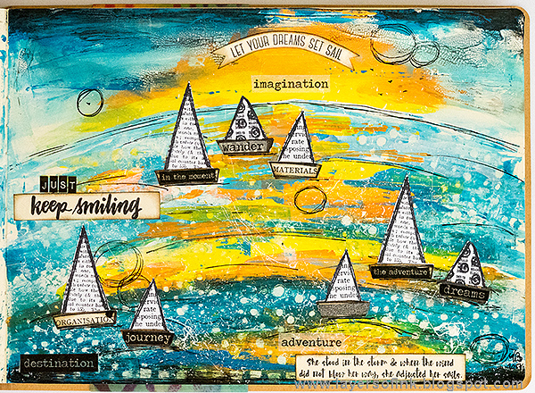 Layers of ink - Set Sail Art Journal Page by Anna-Karin Evaldsson