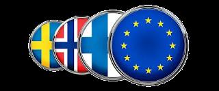 Sweden, Finland, Norway Flags