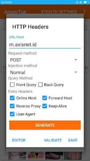 Settingan payload aplikasi anonytun