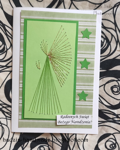 735. Zielone, wyszywane kartki bożonarodzeniowe