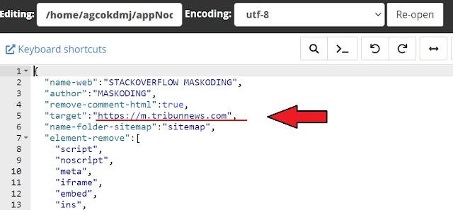 lokasi kode mengganti web target agc nodejs di cPanel