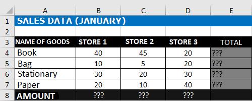 Sum down Excel Formula