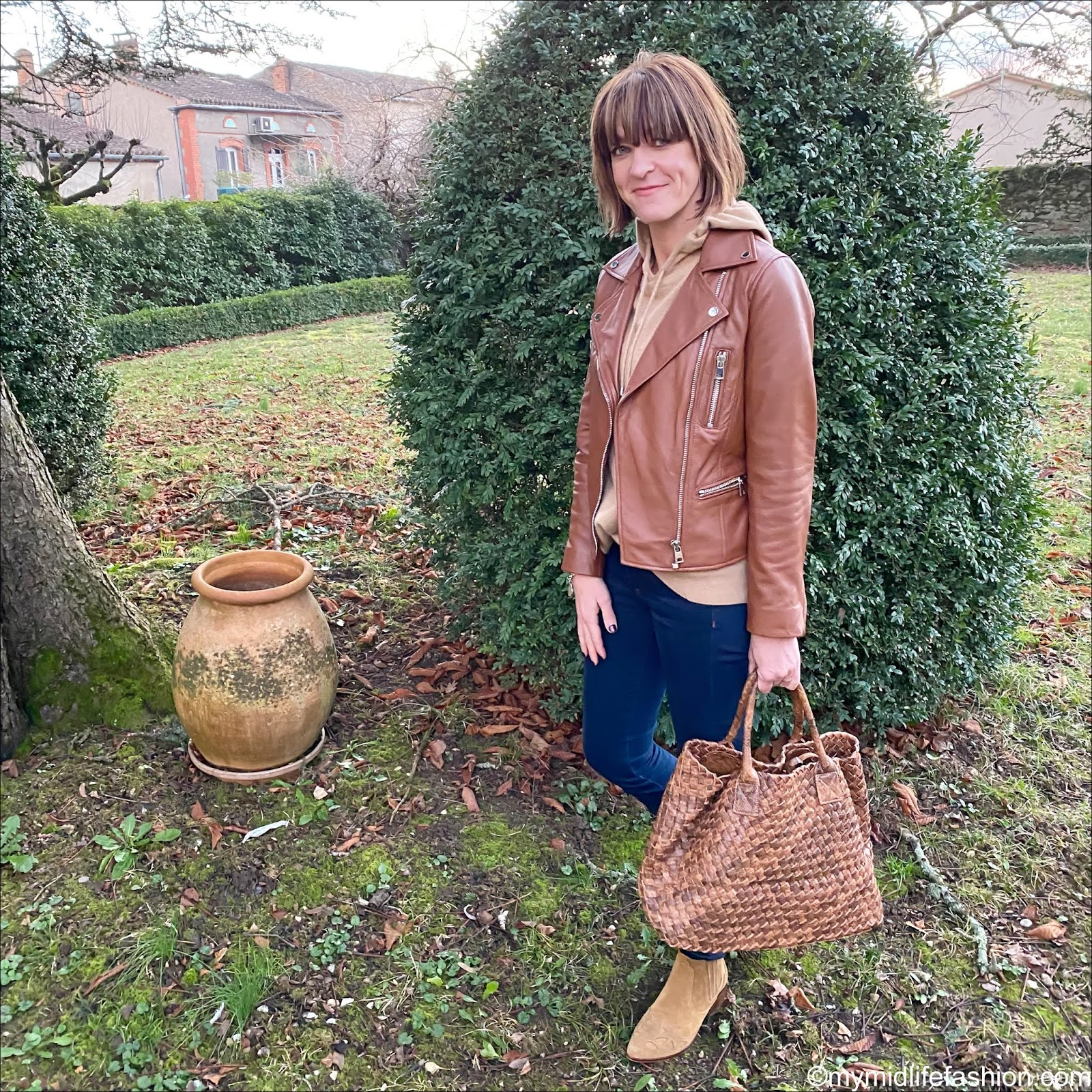 my midlife fashion, Marks and Spencer leather biker jacket, Marks and Spencer pure cashmere hooded jumper, j crew 8 inch toothpick jeans, Zara western heel ankle boots