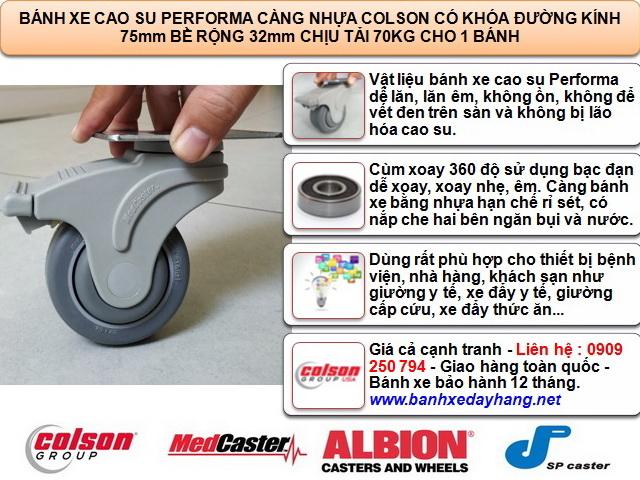 Bánh xe đẩy có khóa Colson Mỹ càng nhựa 3 inch | STO-3856-448BRK4 www.banhxepu.net
