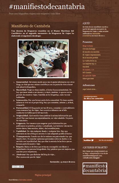 Manifiesto de Cantabria. Los 10 mandamientos del buen blogger de viajes
